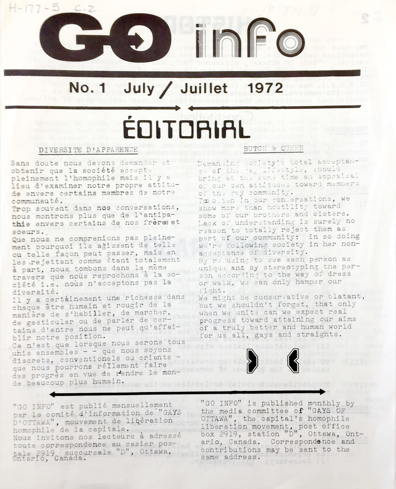 First issue of GO Info, July 1972