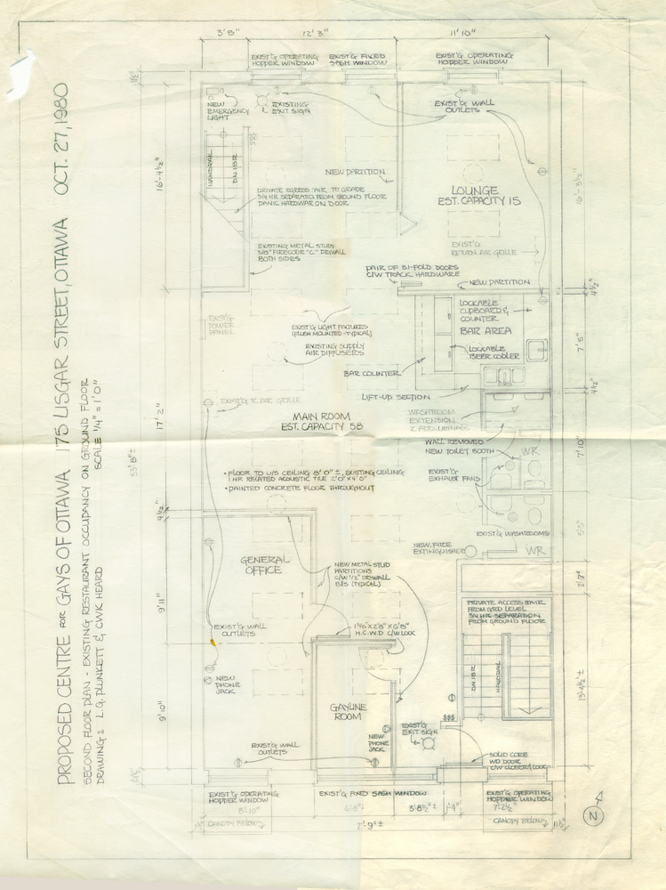 Floor Plan and detailed drawing of the GO Centre at 175 Lisgar, by Lloyd Plunkett