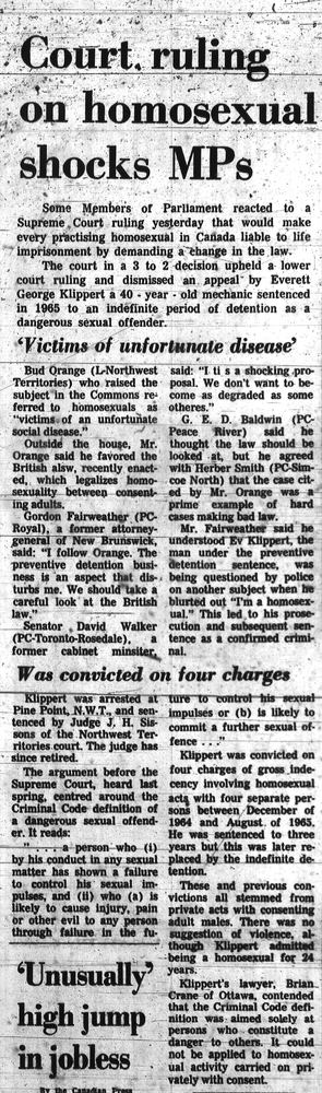 'Court ruling on homosexual' article, November 08, 1967