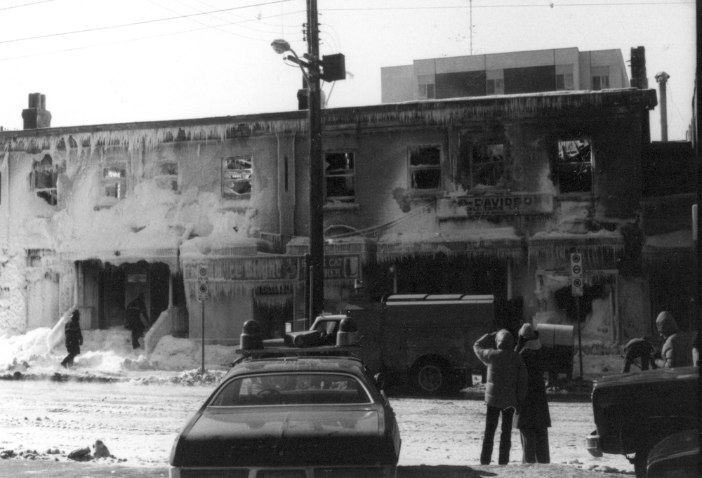 378 Elgin after the fire, Feb 16, 1979